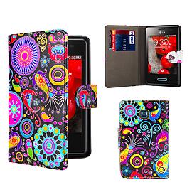 LG L3ii Optimus PU Leather design book case - Jellyfish Mobile phones