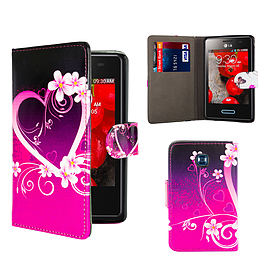 LG L3ii Optimus PU Leather design book case - Love Heart Mobile phones