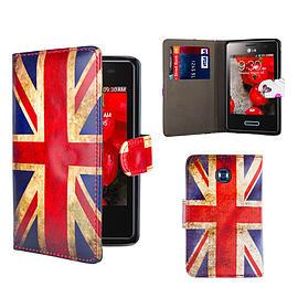 LG L3ii Optimus PU Leather design book case - Union Jack Mobile phones