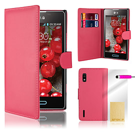 LG Optimus L5 Stylish PU leather wallet case - Hot Pink Mobile phones