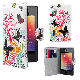 LG Optimus L5 PU leather design book case - Colour Butterfly Mobile phones