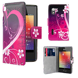 LG Optimus L5 PU leather design book case - Love Heart Mobile phones