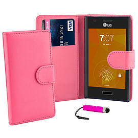 LG Optimus L7 Stylish PU leather wallet case - Hot Pink Mobile phones