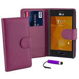 LG Optimus L7 Stylish PU leather wallet case - Purple Mobile phones