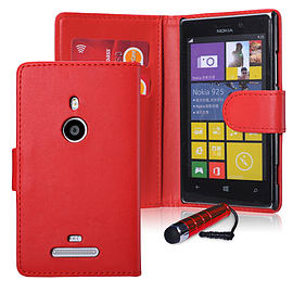 Nokia Lumia 930 Stylish PU Leather wallet case - Red Mobile phones