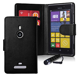 Nokia Lumia 1320 Stylish PU Leather wallet case - Black Mobile phones
