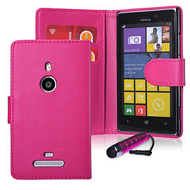 Nokia Lumia 1320 Stylish PU Leather wallet case - Hot Pink Mobile phones