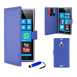 Nokia Lumia 1520 Stylish PU Leather wallet case - Blue Mobile phones