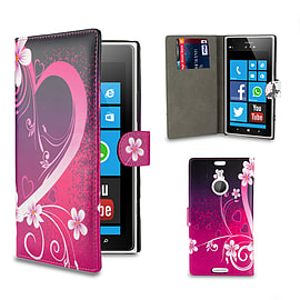 Nokia Lumia 1520 PU Leather design book case - Love Heart Mobile phones