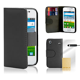 Samsung Galaxy Ace Stylish PU leather wallet case - Black Mobile phones
