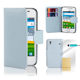 Samsung Galaxy Ace Stylish PU leather wallet case - Light Blue Mobile phones