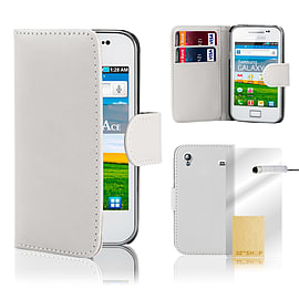 Samsung Galaxy Ace Stylish PU leather wallet case - White Mobile phones