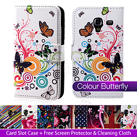 Samsung Galaxy Ace PU leather design book case - Colour Butterfly Mobile phones