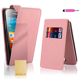 Samsung Galaxy Ace Stylish PU leather flip case - Baby Pink Mobile phones