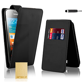 Samsung Galaxy Ace Stylish PU leather flip case - Black Mobile phones