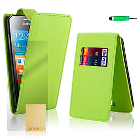 Samsung Galaxy Ace Stylish PU leather flip case - Green Mobile phones