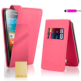 Samsung Galaxy Ace Stylish PU leather flip case - Hot Pink Mobile phones