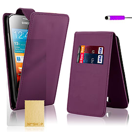 Samsung Galaxy Ace Stylish PU leather flip case - Purple Mobile phones