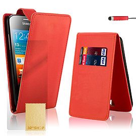 Samsung Galaxy Ace Stylish PU leather flip case - Red Mobile phones