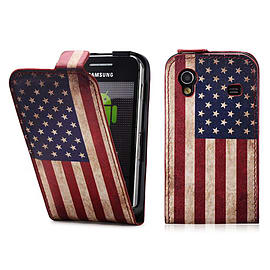 Samsung Galaxy Ace PU leather design flip case - US Flag Mobile phones