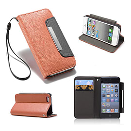 Samsung Galaxy Ace Stylish PU leather stand book case - Brown Mobile phones
