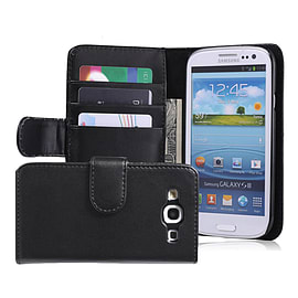Samsung Galaxy S3 Stylish PU leather wallet case - Black Mobile phones