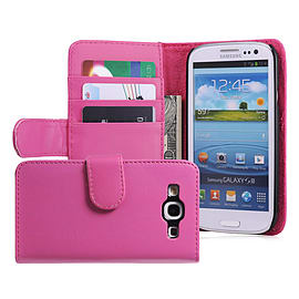 Samsung Galaxy S3 Stylish PU leather wallet case - Hot Pink Mobile phones