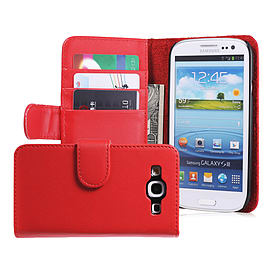 Samsung Galaxy S3 Stylish PU leather wallet case - Red Mobile phones