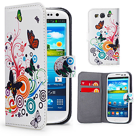 Samsung Galaxy S3 PU leather design book case - Colour Butterfly Mobile phones