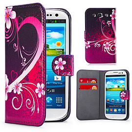 Samsung Galaxy S3 PU leather design book case - Love Heart Mobile phones