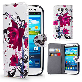 Samsung Galaxy S3 PU leather design book case - Purple Rose Mobile phones