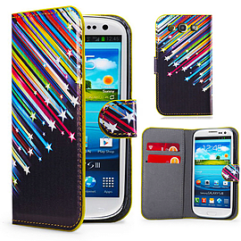 Samsung Galaxy S3 PU leather design book case - Shooting Stars Mobile phones