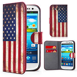 Samsung Galaxy S3 PU leather design book case - US Flag Mobile phones