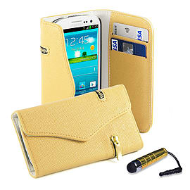 Samsung Galaxy S3 PU leather Zip wallet case - Cream Mobile phones