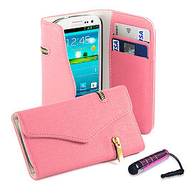 Samsung Galaxy S3 PU leather Zip wallet case - Pink Mobile phones