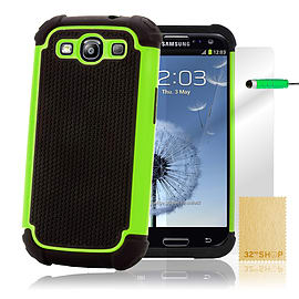 Samsung Galaxy S3 Dual-layer shockproof case - Green Mobile phones