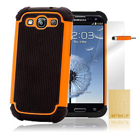 Samsung Galaxy S3 Dual-layer shockproof case - Orange Mobile phones
