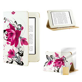 Amazon Kindle Paperwhite PU leather design book case Purple Rose Tablet