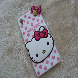 DIA WHITE HELLO KITTY DOTS SILICONE PHONE CASE COVER FOR SONY XPERIA Z3 (F11) Mobile phones