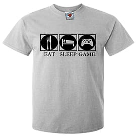 Men's Eat Sleep Game T-Shirt (Light Grey) X Large Clothing