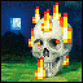 Minecraft Flaming Skull Maxi Poster Posters