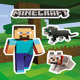 Minecraft Steve and Pets Sticker Pack Posters