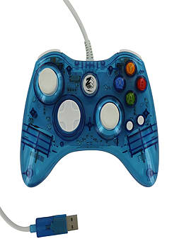 Zedlabz compatible 1.8M wired LED colour glow USB controller for Microsoft Xbox 360 - Blue XBOX360