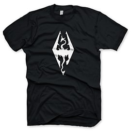 The Elder Scrolls V Skyrim Dragon Symbol T-Shirt - Size Medium Clothing