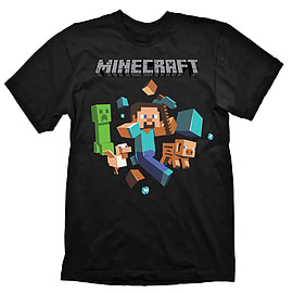 Minecraft Run Away Youth T-Shirt - Size X-Large Clothing