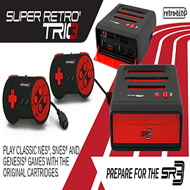 Super Retro TRIO Console NES,SNES & Genesis (Megadrive) 3 in 1 System Red/Black NTSC Retro Consoles