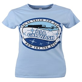 Breaking Bad A1A Car Wash Sky Blue Women's T-shirt: Skinny Fit Large (UK 12 - 14) Clothing