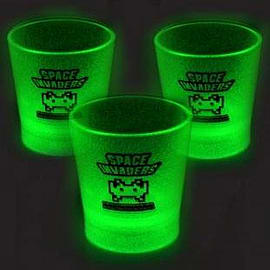 Space Invaders Glow In The Dark Shot Glass Set Home - Tableware