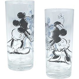 Mickey Mouse Kissing Mickey And Minnie Glass Set Home - Tableware