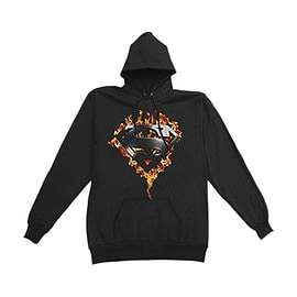 Superman In Flames Logo Hoody Extra Large Clothing